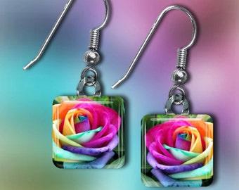 Rainbow Rose Earrings(ERain5.6)