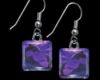 Purple Dolphin Earrings(ECuAnR1.4)