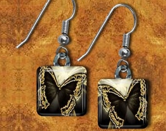 Elegant Black and Gold butterfly Earrings(ECuBu4.4)