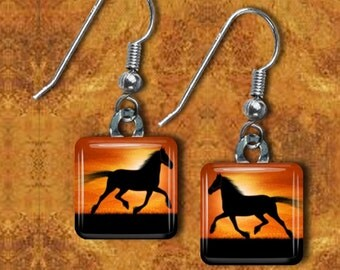 Horse Silhouette Earrings(ECuAn5.6)