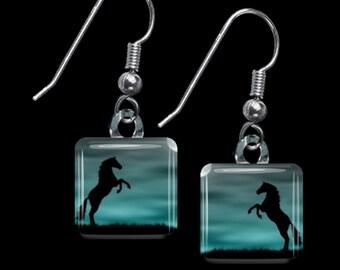 Horse Silhouette Earrings(ECuAn5.7)