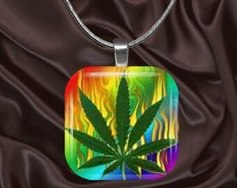 Rainbow Cannabis glass tile Pendant with chain(Can5)