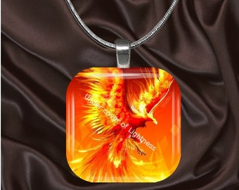 Fire Phoenix Glass Tile Pendant with chain(FF5.1)