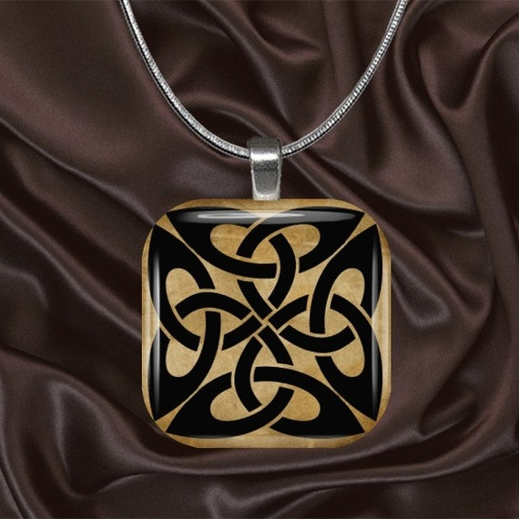 Celtic Knot Glass Tile Pendant with your choice of chain included(Celtic1.6)