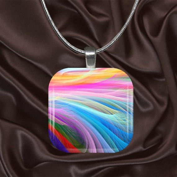 Rainbow ribbon Glass Tile Pendant with your choice of chain included(Rainbow1.3)