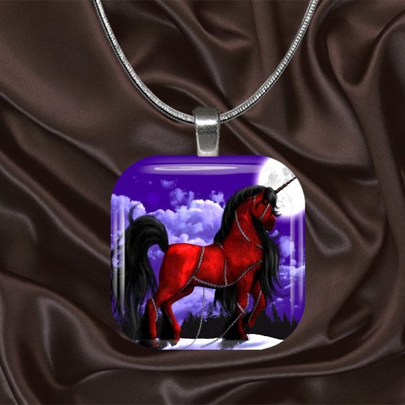 Unicorn Glass Tile Pendant with chain(CusFF19.6)