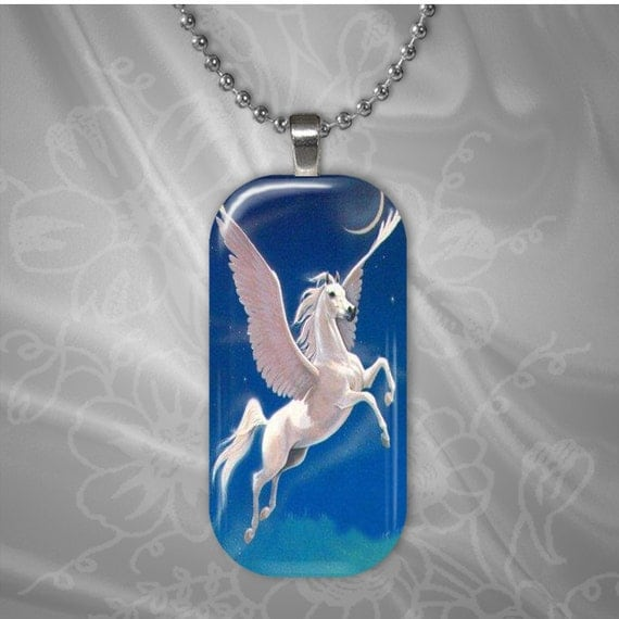 White Pegasus Horse Glass tile pendant with chain(CuFFR22.1)