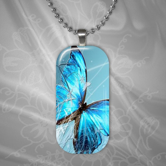 Turquoise Butterfly Glass Tile Pendant with chain(CuBuR1.3)