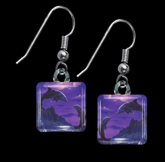 Purple Dolphin Earrings(ECuAnR1.4)