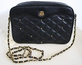 Quilted Purse w/ Cross Body Chain Strap - two zip Purse - VINTAGE