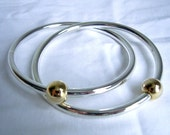 Bracelet - Silver and Gold Interlocked Bangles  - Vintage