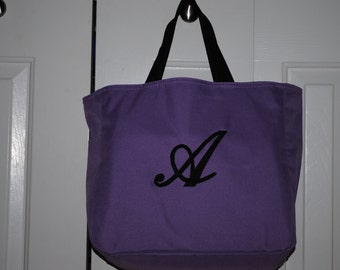 Personalized Tote Bag Bridesmaid Gift Cheer Dance Monogrammed Purple Embroidered Baby Wedding