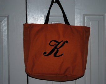 Personalized Tote Bag Bridesmaid Gift Cheer Dance Monogrammed Orange Embroidered Baby Wedding