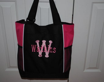 Personalized Embroidered Diaper Bag Bridesmaid Gift Tote 7 colors to choose from Teacher Cheer Dance Coach