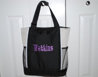 Custom Personalized Embroidered Diaper Bag Bridesmaid Gift Tote 7 colors to choose from Teacher Cheer Dance Coach