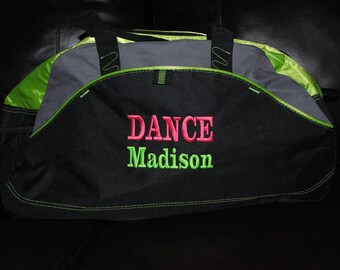 Embroidered Duffel Bag peronalized Gym Bag School Dance Tote Custom Cheer Gymnastics Monogrammed Large Bag two line
