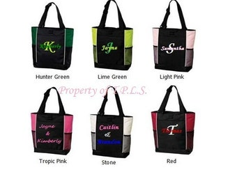 Custom Personalized Embroidered Diaper Bag Bridesmaid Gift Tote 6 colors to choose from Teacher Cheer Dance Coach