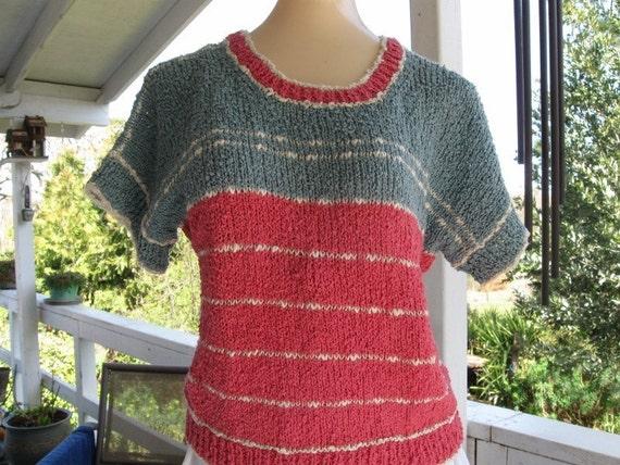 Cotton Acrylic, Summer top, Vintage, striped, light weight, Original