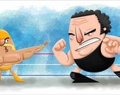 "The Hulkster vs Andre The Giant, 8"" x 16.5"" Print"