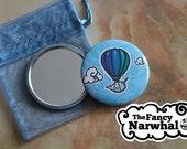 Whimsical Hot Air Balloon Narwhal Pocket Mirror