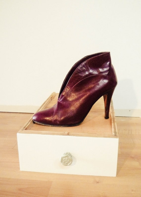 RESERVED for Kim - VINTAGE Creazioni Elie Royal, Made in Italy, Burgundy Ankle Boots