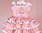 Handmade Girls Pink Tiered Ruffle Dress with Lace Detail 12mo, 2T