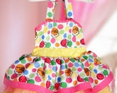 Hello Kitty Girls birthday party dress with layered skirt and pink tulle 12 mo, 2t, 3t, 4t, 5t, 6, 7