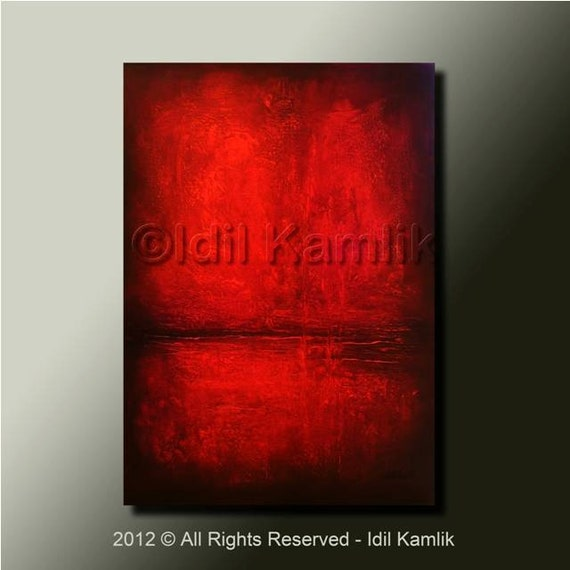 Modern Abstract Original PAINTING Textured Contemporary Fine Art by Idil Kamlik red & black art with heavy texture