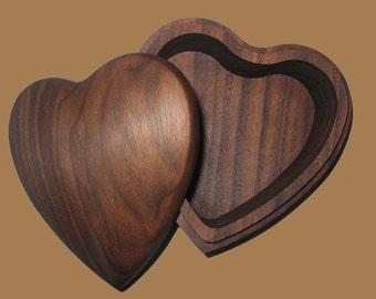 Solid Walnut Heart Shaped Jewelry Box