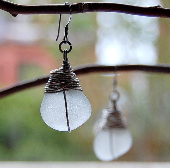 Rustic Sea Glass Earrings. Wire wrapped, beach jewellry, ethnic style earrings handmade in Scotland