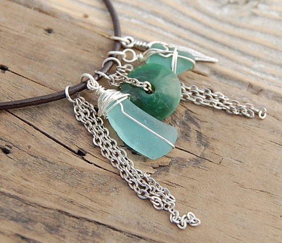 SeaGlass in Green Necklace Pendant. boho hippy rustic chic seaglass from Scotland. eclectic style beach girl