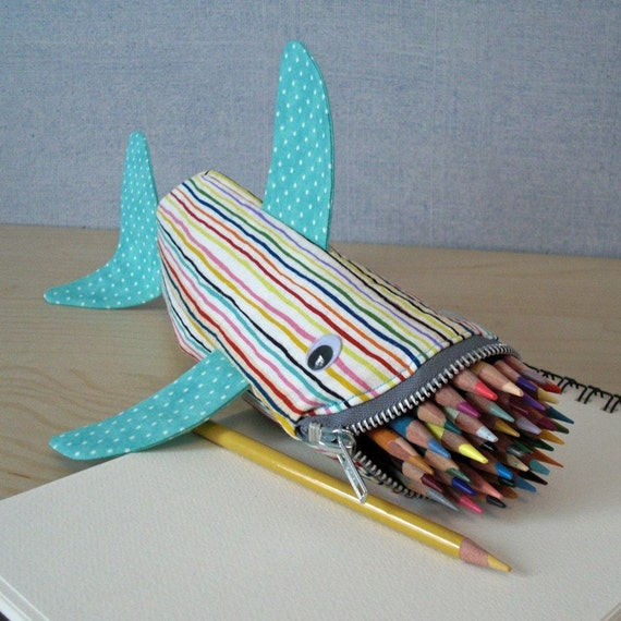 Shark Bag - Zipper Pencil Case: Rainbow Pinstripes Shark Bite