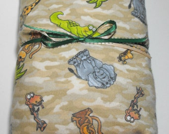Flannel Fitted Sheet Baby Crib or Toddler Bed Jungle Animals