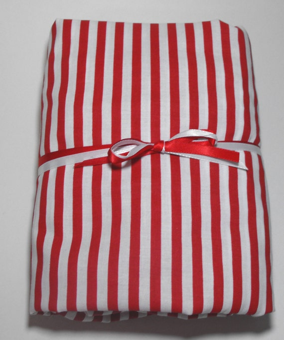 Red and White Stripes Crib Sheet, Toddler Bed Sheet, Fitted with Matching Pillow Case
