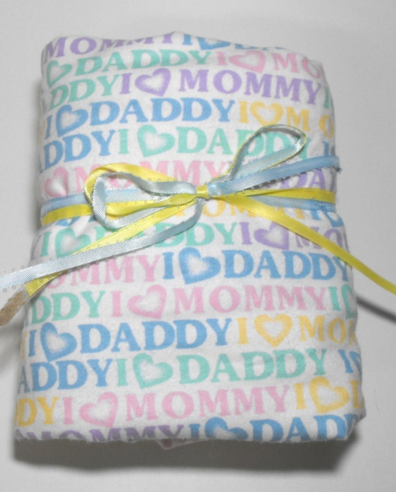 Flannel Fitted Crib Toddler Bed Sheet I love Mommy and Daddy