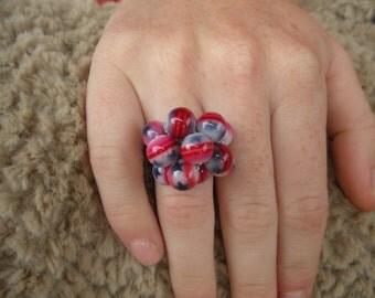 Patriotic crochet cluster ring