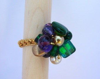 Enchanted Purple/Emerald Cluster Ring