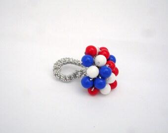 Patriotic Opaque Crochet Cluster Ring
