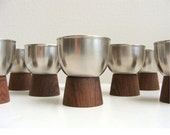 Mid Century Rosewood & Stainless Cups Modernist Set of 8 Lundtofte DENMARK1960's