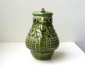 RESERVED Vintage Bird Jar Whimsical Porcelain Folk Art Japan