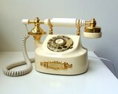Vintage Rotary Dial Phone Telephone Victorian Boudoir Princess WORKS Hollywood Regency 70's