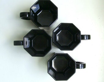 Vintage Modern Black Glass Mugs Cups Octagon Octime Arcoroc France 1970's