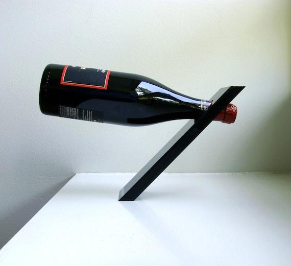 Mid Century Mod Wine Bottle Holder Stand Onyx Acrylic Bottle Butler