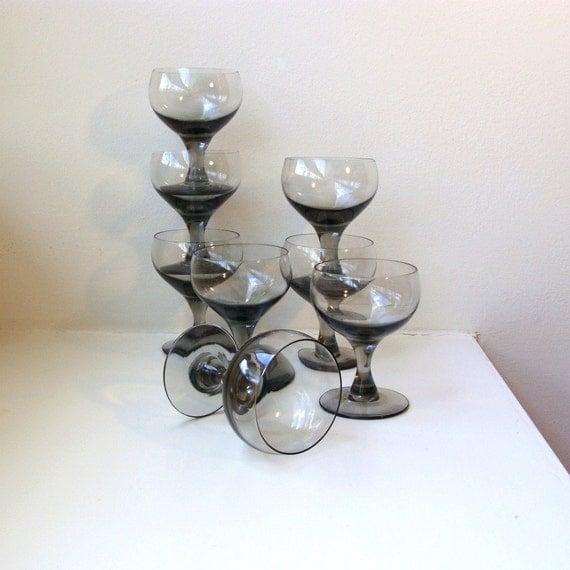Mid Century Modern Smoke Gray Crystal Wine Glasses Cordials