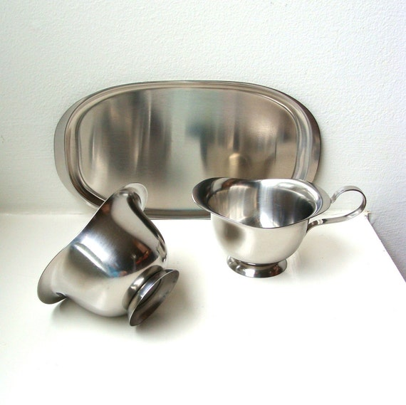 SALE Mid Century Modern Creamer Sugar Tray Serving Set Stainless Steel 1960's
