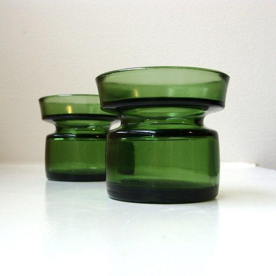 Danish Modern Green Glass Candle Holders Pair Dansk IHQ Quistgaard