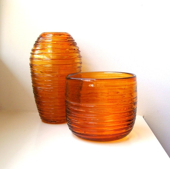 RESERVED Mid Century Modern Amber Glass Vases Pair Ribbed Threads Hand Blown 1960's