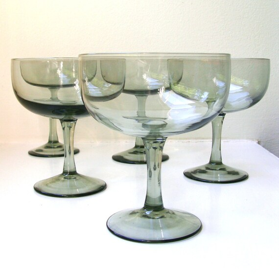 SALE Mid Century Modern Smoke Gray Champagne Wine Glasses Set of 5 Scandinavian Style 1960's