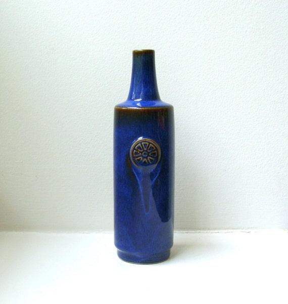 RESERVED for S Mid Century Blue Bottle Vase Soholm Stentoj Nordlys Scandinavian Pottery Denmark 1960's