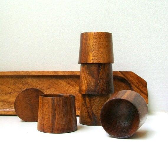 RESERVED FOR A Vintage Modern Wood Egg Cups Modernist Set of 6